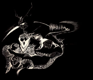 Dragon on scratchboard