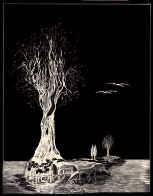 Island trees on scratchboard