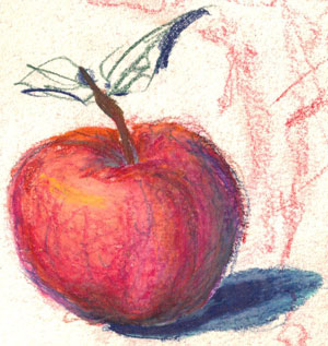 apple - colored pencil