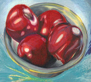 apples in pewter bowl