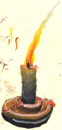 candle by oil pastel