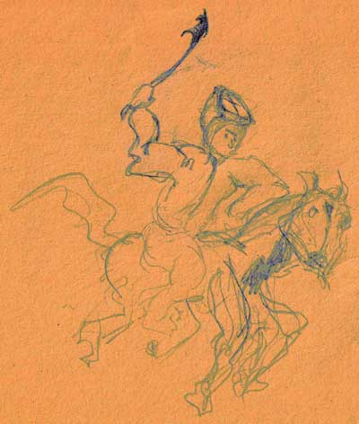 lady on horse in pencil