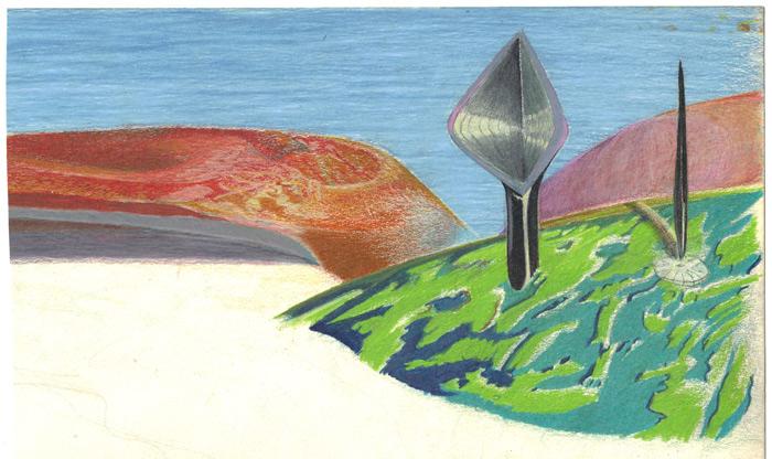 landscape in colored pencil