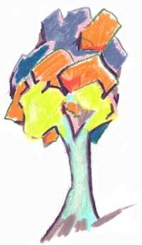Tree on paper - colored pencil