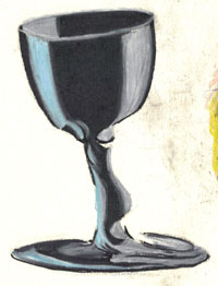 wine glass in colored pencil