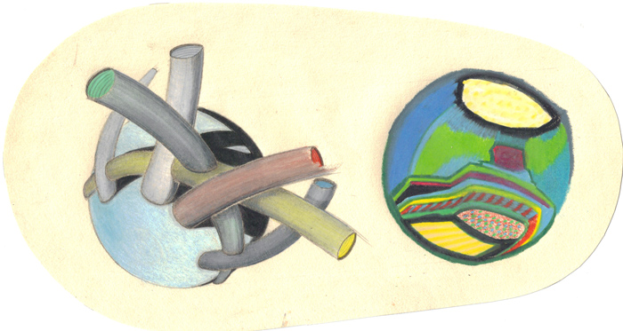 worlds in colored pencil